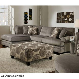Groovy 2 Piece Gray Left Facing Chaise Sectional