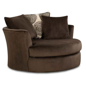 Albany Groovy Chocolate Brown Padded Microfiber Swivel Chair