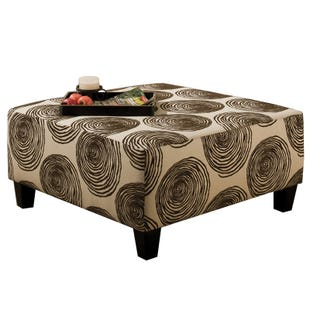 Albany Groovy Chocolate Brown Swirl Cocktail Ottoman
