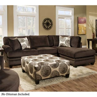 Groovy Chocolate Brown Padded Microfiber Sectional
