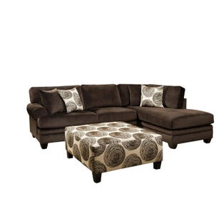 Albany Groovy Chocolate Brown Padded Microfiber Sectional