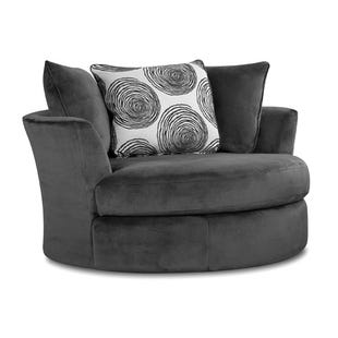 Albany Smoke Gray Padded Microfiber Swivel Chair