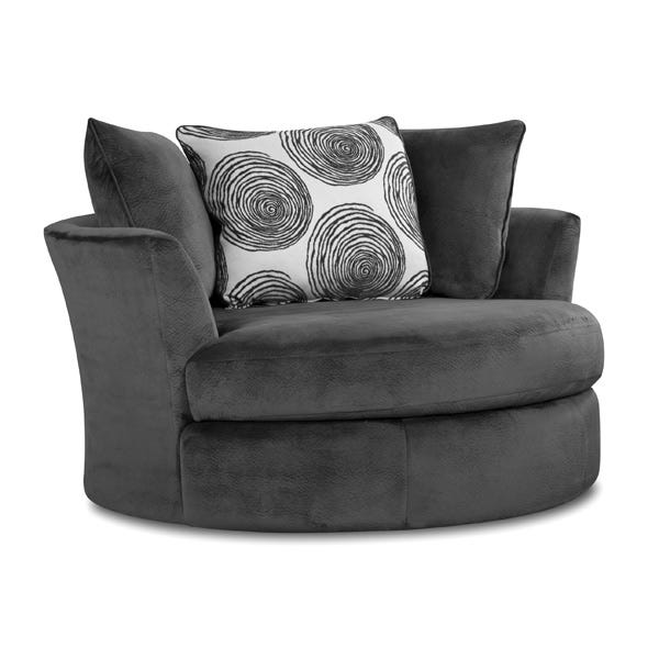 Enjoyable Albany Smoke Gray Padded Microfiber Swivel Chair Pdpeps Interior Chair Design Pdpepsorg