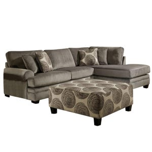 Albany Smoke Gray Padded Microfiber Sectional