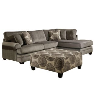 Groovy Gray 2 Pc Padded Microfiber Sectional