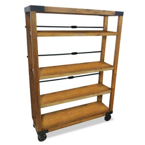 Ashley Discovery Rustic Industrial Rolling Shelf