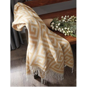 Ashley Anitra Gold Geometric Fringe Throw Blanket