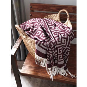 Ashley Anitra Plum Geometric Fringe Throw Blanket