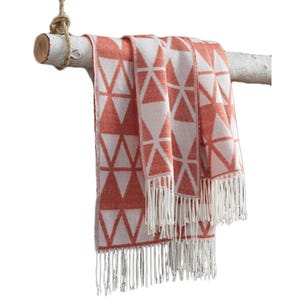 Ashley Neomi Burnt Orange Geometric Fringe Throw Blanket