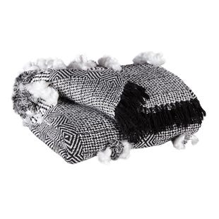 Black & White Handwoven Fringe Throw