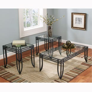 Exeter Black and Glass 3 Piece Table Set