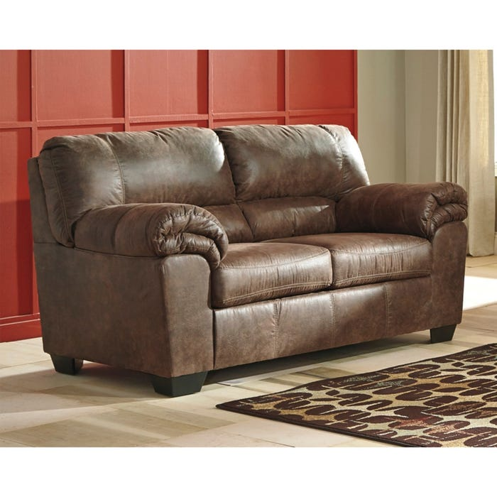 Ashley Bladen Brown Padded Arm Faux Leather Loveseat Weekends Only
