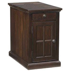 Ashley Laflorn Power Chairside Table in Dark Brown Finish