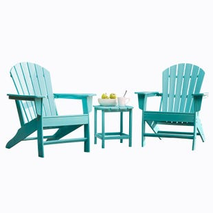 Sundown Treasure Turquoise Adirondack Table and Two Chairs