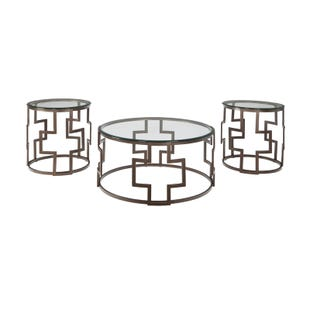 Ashley Frostline Metal and Glass 3-Pack of Tables