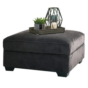 Square Chenille Contessa Storage Ottoman Gray
