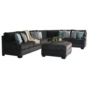 Contessa 3 Piece Gray Chenille Sectional