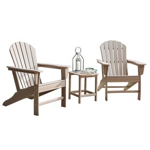 Sundown Treasure Beige Adirondack Table and Two Chairs