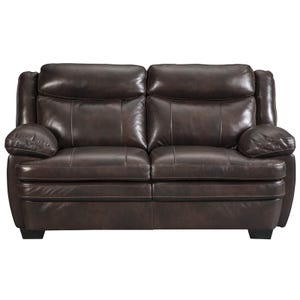 Ashley Hannalore Brown Leather Loveseat