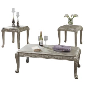 Ashley Gailian Silver Glam Set of 3 Tables