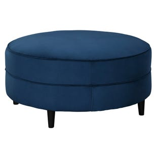 Round Velvet Edinburgh Cocktail Ottoman Navy