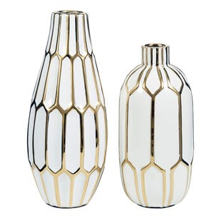 2 Piece Medium/Large Geometric Goldtone Vase Set