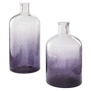 2 Piece Medium/Large Purple Hombre Vase Set
