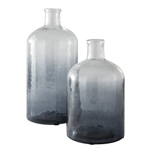 2 Piece Medium/Large Blue Hombre Vase Set