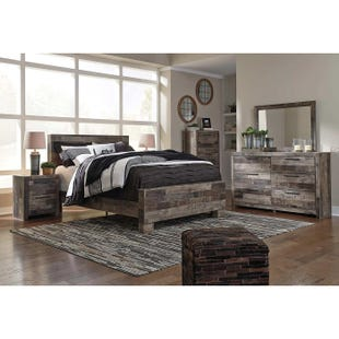 Ashley Derekson King Butcher Block Panel Bedroom Set