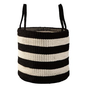 Black & White Striped Basket