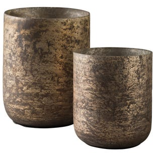 Antiqued Candle Holder Set M/L