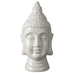 White Glazed Buddha Sculpture