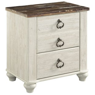 Willowton Two-Toned White Washed 2 Drawer Nightstand