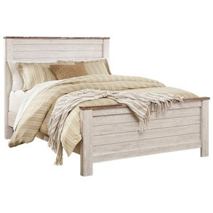 Willowton Two-Toned White Washed King Panel Bed