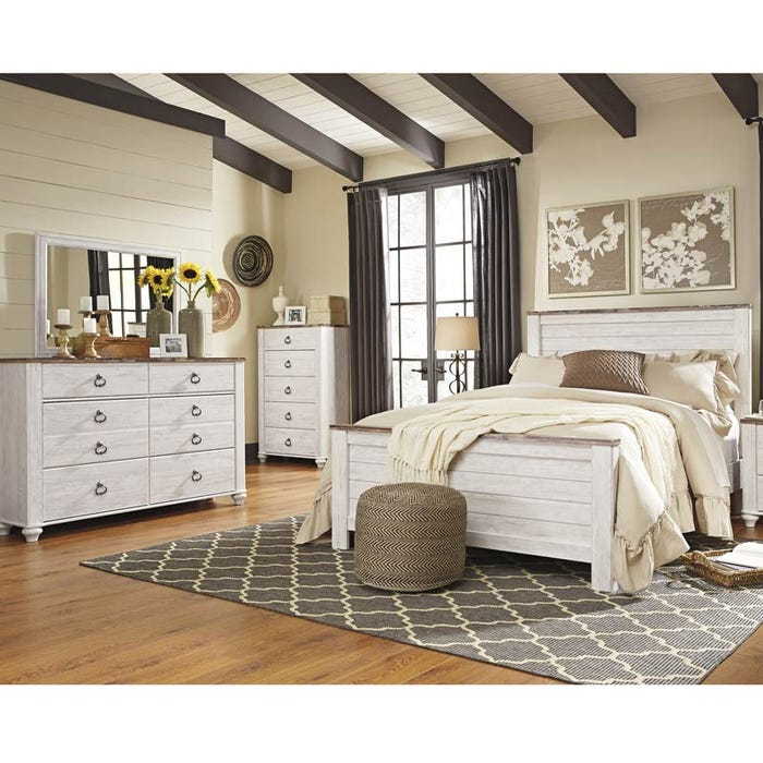 Willowton Two-Toned White Washed King Bedroom Set