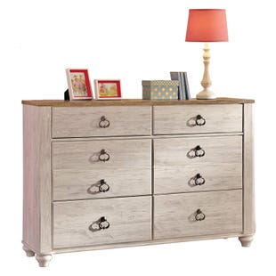 Willowton White Washed 6 Drawer Dresser