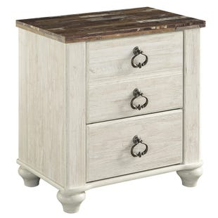 Willowton Two-Toned White Washed Two Drawer Nightstand