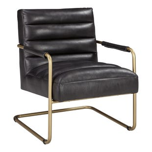 Hackley Black Faux Leather Accent Chair