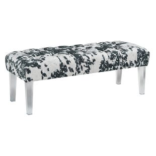 Faux Cowhide Print Bench