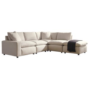 Modular Salerno 4 Piece Sectional with Ottoman Cream