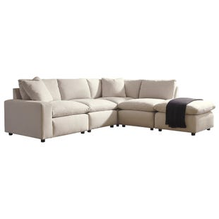 Salerno 4 Piece Cream Modular Sectional with Ottoman