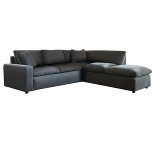 Modular Salerno 4 Piece Sectional with Ottoman Charcoal