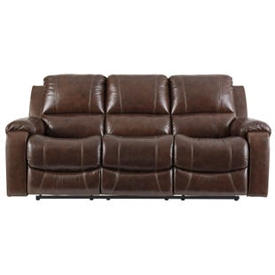 Ashley Rackinbury Brown Top Grain Leather Power Sofa