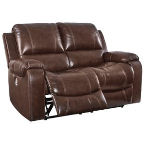 Ashley Rackinbury Brown Top Grain Leather Power Loveseat