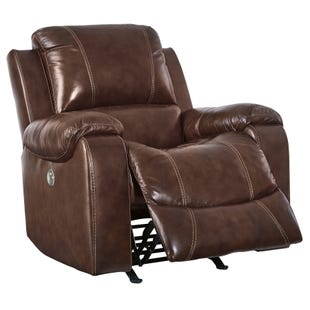Rackinbury Brown Leather Power Rocker Recliner
