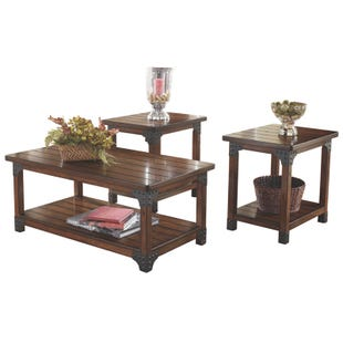 Murphy Medium Brown Woodem 3 Piece Table Set