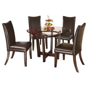 Charrell Round Glass 5 Piece Dining Set in Brown