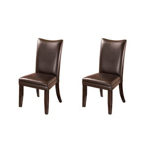 Charrell Brown Faux Leather Set of 2 Dining Chairs