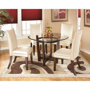 Charrell Round Glass 5 Piece Dining Set in Ivory