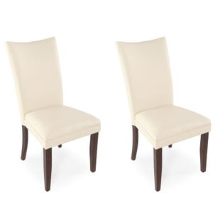 Charrell Ivory Faux Leather Set of 2 Dining Chairs